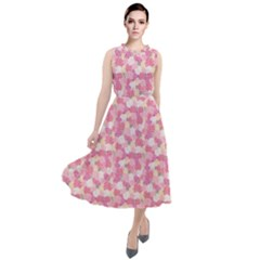 Peony Pattern Pink Scrapbooking Round Neck Boho Dress