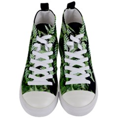 Fern Plant Leaf Green Botany Women s Mid Top Canvas Sneakers