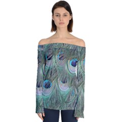 Peacock Feather Pattern Plumage Off Shoulder Long Sleeve Top by Pakrebo