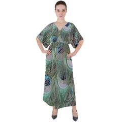 Peacock Feather Pattern Plumage V-neck Boho Style Maxi Dress