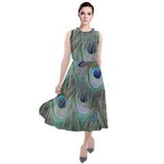 Peacock Feather Pattern Plumage Round Neck Boho Dress
