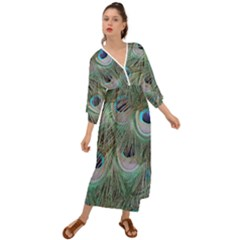 Peacock Feather Pattern Plumage Grecian Style  Maxi Dress
