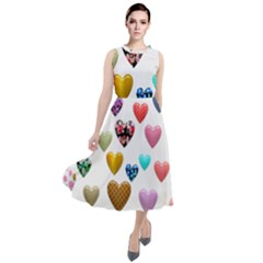 Hearts Puffy Shiny Love Sticker Round Neck Boho Dress