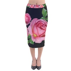Roses Flowers Arrangement Garden Velvet Midi Pencil Skirt