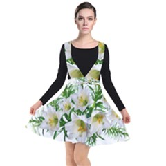 Lilies Flowers Perfume Arrangement Plunge Pinafore Dress