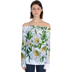 Lilies Flowers Perfume Arrangement Off Shoulder Long Sleeve Top