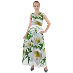 Lilies Flowers Perfume Arrangement Chiffon Mesh Boho Maxi Dress