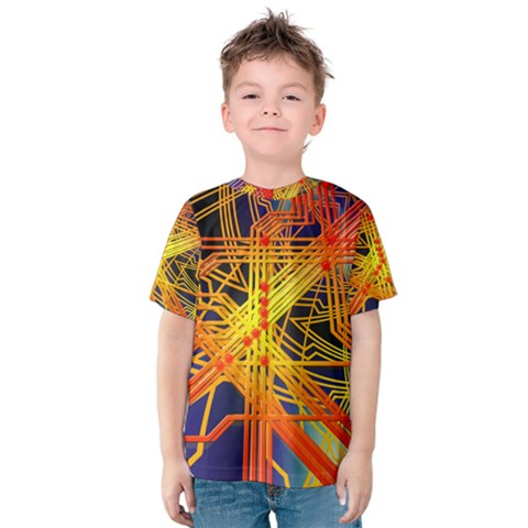 Board Circuits Control Center Trace Kids  Cotton Tee by Pakrebo