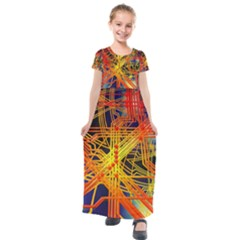Board Circuits Control Center Trace Kids  Short Sleeve Maxi Dress by Pakrebo