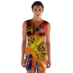 Board Circuits Control Center Trace Wrap Front Bodycon Dress