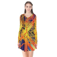 Board Circuits Control Center Trace Long Sleeve V Neck Flare Dress