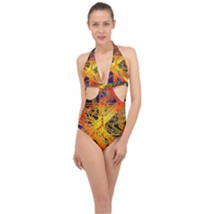 Board Circuits Control Center Trace Halter Front Plunge Swimsuit