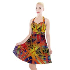 Board Circuits Control Center Trace Halter Party Swing Dress