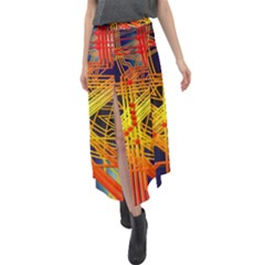 Board Circuits Control Center Trace Velour Split Maxi Skirt