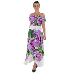 Flowers Roses Aquilegias Ferns Off Shoulder Open Front Chiffon Dress