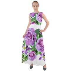 Flowers Roses Aquilegias Ferns Chiffon Mesh Boho Maxi Dress
