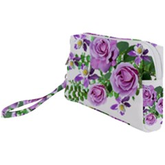 Flowers Roses Aquilegias Ferns Wristlet Pouch Bag (small)