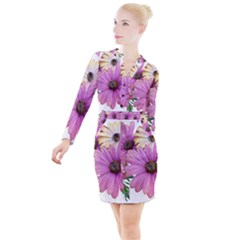Flowers Daisies Arrangement Garden Button Long Sleeve Dress