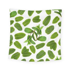 Mint Seamless Pattern Leaf Green Square Tapestry (small) by Pakrebo
