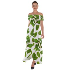 Mint Seamless Pattern Leaf Green Off Shoulder Open Front Chiffon Dress by Pakrebo