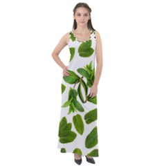 Mint Seamless Pattern Leaf Green Sleeveless Velour Maxi Dress