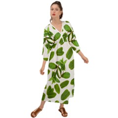 Mint Seamless Pattern Leaf Green Grecian Style  Maxi Dress