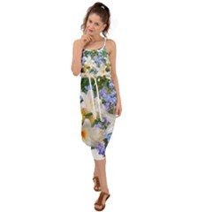 Flowers Lilies Arrangement Bouquet Waist Tie Cover Up Chiffon Dress