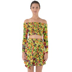 Background Pattern Structure Fruit Off Shoulder Top With Skirt Set
