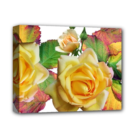 Flowers Roses Autumn Leaves Deluxe Canvas 14  X 11  (stretched) by Pakrebo
