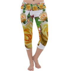 Flowers Roses Autumn Leaves Capri Yoga Leggings by Pakrebo