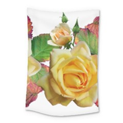 Flowers Roses Autumn Leaves Small Tapestry