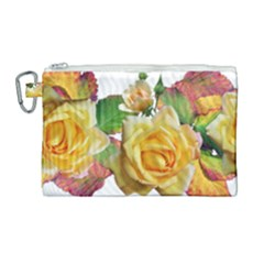 Flowers Roses Autumn Leaves Canvas Cosmetic Bag (large)