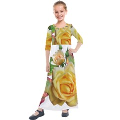 Flowers Roses Autumn Leaves Kids  Quarter Sleeve Maxi Dress by Pakrebo