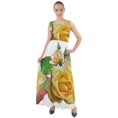 Flowers Roses Autumn Leaves Chiffon Mesh Boho Maxi Dress