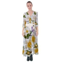 Flowers Roses White Mauve Babianas Button Up Maxi Dress