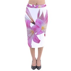 Lily Belladonna Easter Lily Velvet Midi Pencil Skirt