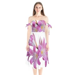 Lily Belladonna Easter Lily Shoulder Tie Bardot Midi Dress