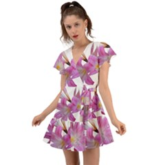 Lily Belladonna Easter Lily Flutter Sleeve Wrap Dress