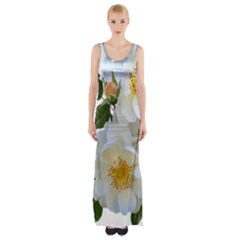 Roses Stamens Pollen Buds White Thigh Split Maxi Dress