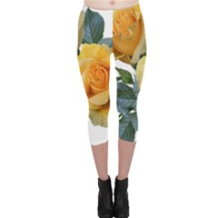Roses Yellow Flowers Fragrant Capri Leggings