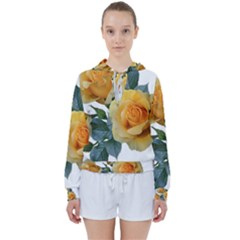 Roses Yellow Flowers Fragrant Women s Tie Up Sweat