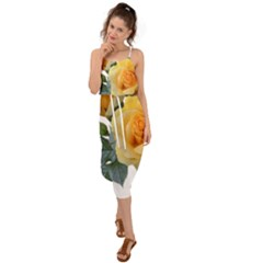 Roses Yellow Flowers Fragrant Waist Tie Cover Up Chiffon Dress