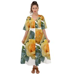 Roses Yellow Flowers Fragrant Kimono Sleeve Boho Dress