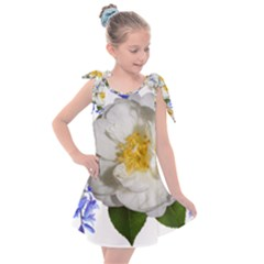Flowers Camellia Bluebells Fragrant Kids  Tie Up Tunic Dress