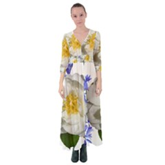 Flowers Camellia Bluebells Fragrant Button Up Maxi Dress