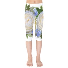 Roses Flowers Plumbago Arrangement Kids  Capri Leggings  by Pakrebo