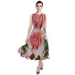 Roses Flowers Berries Arrangement Round Neck Boho Dress