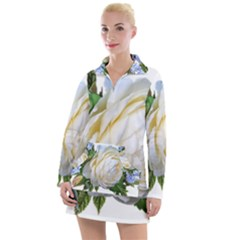 Rose White Flower Plumbago Women s Long Sleeve Casual Dress
