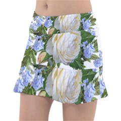 Rose White Flower Plumbago Tennis Skirt