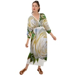 Rose White Flower Plumbago Grecian Style  Maxi Dress